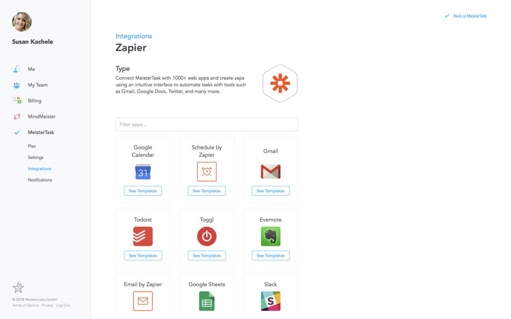 MeisterTask: integración con Zapier